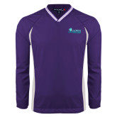 Colorblock V Neck Purple/White Raglan Windshirt-Florida SW Buccaneers