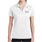 Ladies White Dry Mesh Polo-Primary Logo