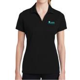 Ladies Black Dry Mesh Polo-Primary Logo