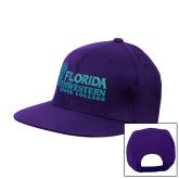 Purple Flat Bill Snapback Hat-Primary Logo