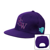 Purple Twill Flat Bill Snapback Hat-FSW