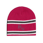 Pink/Charcoal/White Striped Knit Beanie-FSW