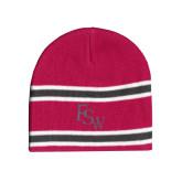 Pink/Charcoal/White Striped Knit Beanie-FSW