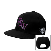 Black Flat Bill Snapback Hat-FSW