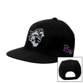 Black Flat Bill Snapback Hat-Pirate