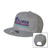 Heather Grey Wool Blend Flat Bill Snapback Hat-Primary Logo
