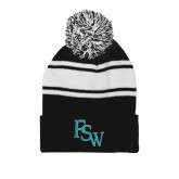 Black/White Two Tone Knit Pom Beanie w/Cuff-FSW