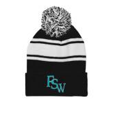 Black/White Two Tone Knit Pom Beanie with Cuff-FSW