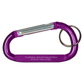 Purple Carabiner with Split Ring-Florida SouthWestern State College Flat Engraved