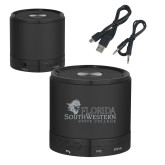 Wireless HD Bluetooth Black Round Speaker-Primary Logo Engraved