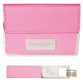 Business Card Case and Key Ring Set Pink-Florida SouthWestern State College Flat Engraved