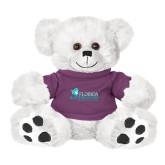 Plush Big Paw 8 1/2 inch White Bear w/Purple Shirt-Primary Logo