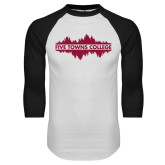 White/Black Raglan Baseball T Shirt-Five Towns College Waves