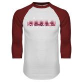 White/Cardinal Raglan Baseball T Shirt-Five Towns College Bars