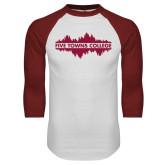 White/Cardinal Raglan Baseball T Shirt-Five Towns College Waves
