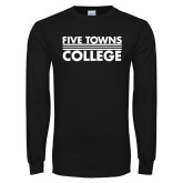 Black Long Sleeve T Shirt-Five Towns College Stacked