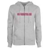 ENZA Ladies Grey Fleece Full Zip Hoodie-Five Towns College Bars