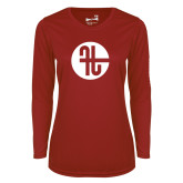 Ladies Syntrel Performance Cardinal Longsleeve Shirt-Identity Mark
