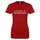 Next Level Ladies SoftStyle Junior Fitted Cardinal Tee-Five Towns College Bars