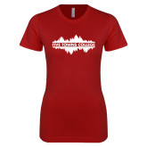 Next Level Ladies SoftStyle Junior Fitted Cardinal Tee-Five Towns College Waves