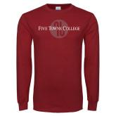 Cardinal Long Sleeve T Shirt-Five Towns College Tone Distress