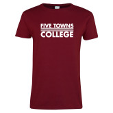 Ladies Cardinal T Shirt-Five Towns College Stacked
