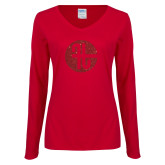 Ladies Cardinal Long Sleeve V Neck Tee-Primary Mark Red Glitter