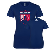 Next Level Ladies SoftStyle Junior Fitted Navy Tee-Military Appreciation