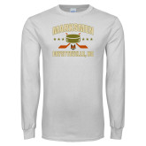 White Long Sleeve T Shirt-Puck w/ Crossed Sticks