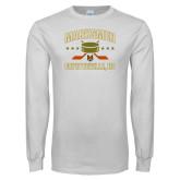 White Long Sleeve T Shirt-Puck w/ Crossed Sticks