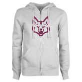 ENZA Ladies White Fleece Full Zip Hoodie-Mascot Head Pink Glitter