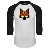 White/Black Raglan Baseball T Shirt-Mascot Head