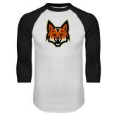 White/Black Raglan Baseball T Shirt-Mascot Head