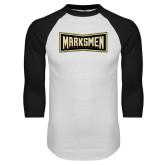 White/Black Raglan Baseball T Shirt-Wordmark