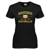 Ladies Black T Shirt-Puck w/ Crossed Sticks