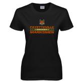 Ladies Black T Shirt-Stacked Cut Through Design