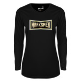 Ladies Syntrel Performance Black Longsleeve Shirt-Wordmark