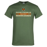 Military Green T Shirt-Stacked Cut Through Design
