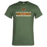 Military Green T Shirt-Stacked Cut Through Design
