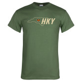 Military Green T Shirt-State Outline HKY