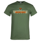 Military Green T Shirt-Interlocking Design