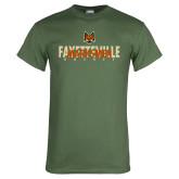 Military Green T Shirt-Interlocking Design