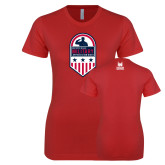 Next Level Ladies SoftStyle Junior Fitted Red Tee-Military Appreciation Design
