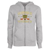 ENZA Ladies Grey Fleece Full Zip Hoodie-Puck w/ Crossed Sticks