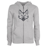 ENZA Ladies Grey Fleece Full Zip Hoodie-Mascot Head Graphite Soft Glitter