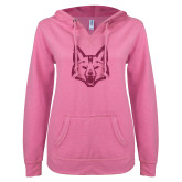 ENZA Ladies Hot Pink V Notch Raw Edge Fleece Hoodie-Mascot Head Hot Pink Glitter