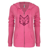 ENZA Ladies Hot Pink Light Weight Fleece Full Zip Hoodie-Mascot Head Hot Pink Glitter