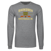 Grey Long Sleeve T Shirt-Puck w/ Crossed Sticks
