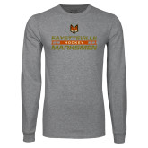 Grey Long Sleeve T Shirt-Stacked Cut Through Design