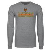 Grey Long Sleeve T Shirt-Stacked Cut Through Design